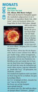 """CD des Monats und Review des Albums """"Fire From The Soul"""" im hannoverschen Scenemagazin """"magaScene"""" vom März 2016"""